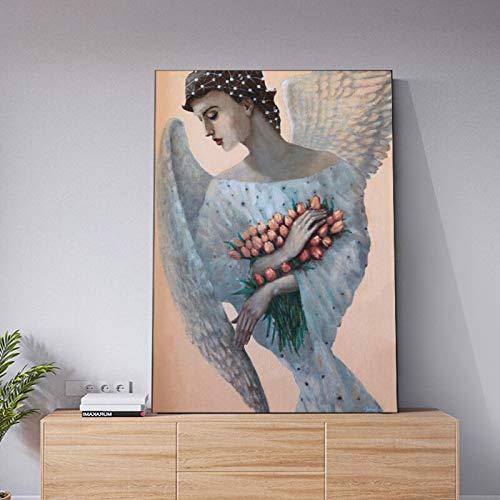 wZUN Alas de ángel Flor Hermosa niña Mujer Lienzo Pintura Mural Sala de Estar Arte Moderno Pintura Decorativa 50x75 cm