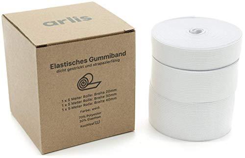 arlis Gummiband Premium Nähen Set Professionell | 20-30-40mm Breit, 15m Lang |3 Rollen,Weiß