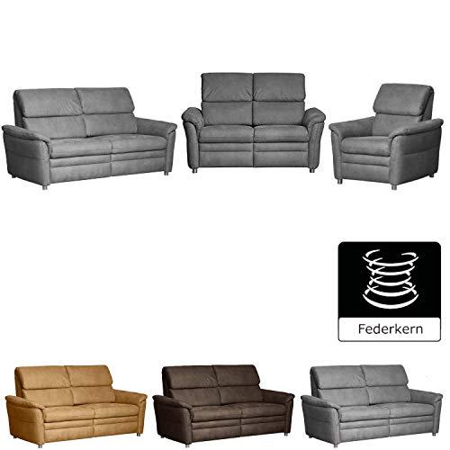 CAVADORE Sitzgruppe Chalsay / 3-Sitzer, 2-Sitzer und Sessel / mit Federkern / moderne Polstergruppe / Sofa 3-sitzig: 179 x 94 x 92; Sofa 2-sitzig: 145 x 94...