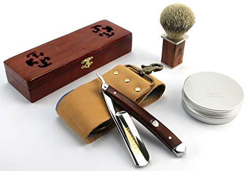 A.P. Donovan - Set rasoio 7/8' con manico in legno di mogano, set per la cura della barba da uomo con pennello, sapone, spatola e rasoio