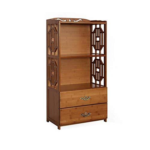 YLCJ boekenkast, vrijstaand, bamboe met ladekast, 2/3/4/5 lagen, badkamer, keuken, 52 x 29 x 70 cm