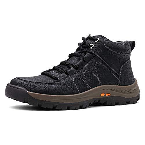 gracosy Botas de Nieve Hombre Invierno Botas Chukka Zapatilla de Trekking PU Cuero Chelsea Casual Lana Calentitas Espesar Zapatos de Padre Antideslizante Forradas por Dentro