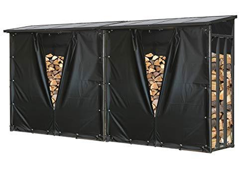 QUICK STAR 2 Stück Metall Kaminholzregal Anthrazit XXL 185 x 70 x 185 cm mit Wetterschutz Garten Kaminholzunterstand 4,6 m³ / 7 SRM Kaminholzlager Stapelhilfe Aussen