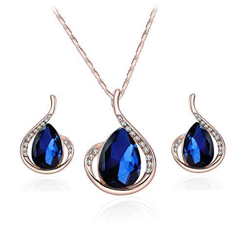 Pendientes De Collar Conjuntos Joyas,Vintage Elegante Para Mujeres Niñas Oro Rosa Brillante Diamante Completo Azul Marino Gota De Lluvia Colgante A Juego Novia Hermosa Conjunto Clásico Regalo Para F