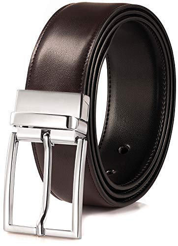 BeltRyte Cinturón reversible de piel para hombre, de doble cara, acortable, en negro y marrón, ancho 33 mm Marrón oscuro. 120 cm