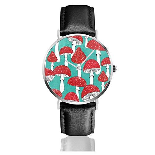 Reloj de cuero rojo setas en azul turquesa unisex clásico casual moda reloj de cuarzo reloj de acero inoxidable con correa de cuero