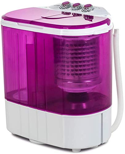 KUPPET Mini Portable Washing Machine for Compact Laundry,Small Semi-Automatic Compact Washer with Timer Control Single Translucent Tub (Purple, 10lbs)