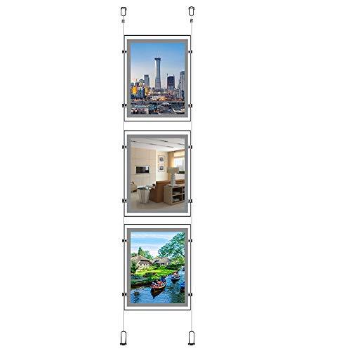 A3 (retrato) Señal de oficina de bienes raíces para colgar en la ventana, marco de póster acrílico de cristal, caja de luz LED, soporte de exhibición (3 piezas por columna)