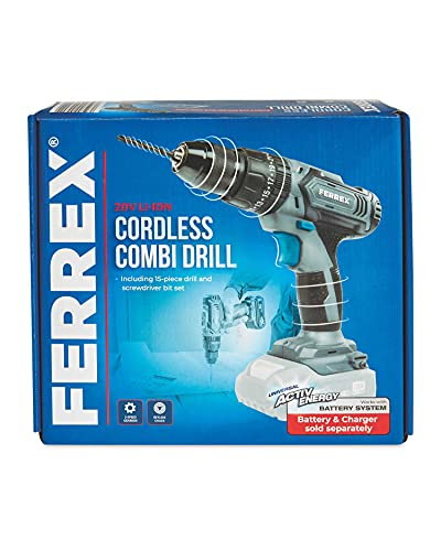 Ferrex 20V Cordless Combi Drill Skin (Bare Unit) Hammer Setting, Keyless Chuck, Includes 15 Piece bits and Drill Set