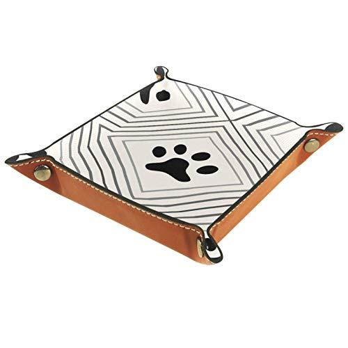 AITAI bandeja de valet de cuero vegano organizador de mesita de almacenamiento de escritorio placa Catchall pata de perro azulejos