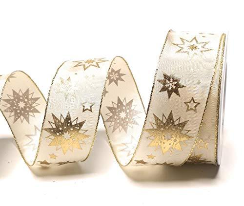 SCHLEIFENBAND 20m x 40mm Creme - Gold Sterne Dekoband Geschenkband Weihnachten [5124]