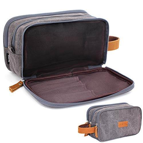 Toiletry Travel Bag for Men, Mens Shaving Gym Wash Bag Water-Resistant with 3 Compartment (Gray-Canvas)