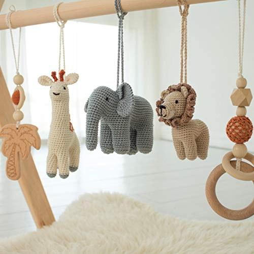TUGU Wooden Baby Play Gym - Set with 5 Toys Hanging Safari Jungle Animals Rattles Teenthing and Baby Pillow, Foldable Baby Frame Activity Center