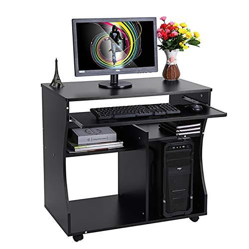 Escritorio para ordenador portátil con teclado deslizante y estantes de almacenamiento, mesa de escritorio para ordenador portátil, mesa de trabajo con 4 ruedas, 80 x 48 x 76 cm (negro)