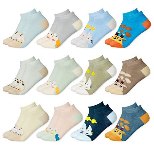 MC.TAM® Calcetines de Colores Medias Para Niños Niñas 12 Pares 90% Algodón Oeko Tex® Standard 100, 27-30, 12 pares FV001