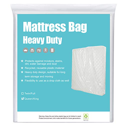 HOMEIDEAS 5 Mil 2 Pack Super Thick Mattress Bags for Moving, Storage or Disposal Queen/King -Heavy Duty & Tear and...