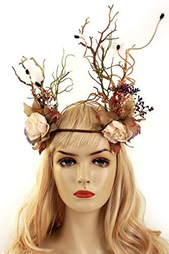shoperama Kopfschmuck mit Blumen Zweigen Schmetterlingen Krone Waldelfe Elfe Wald-Fee