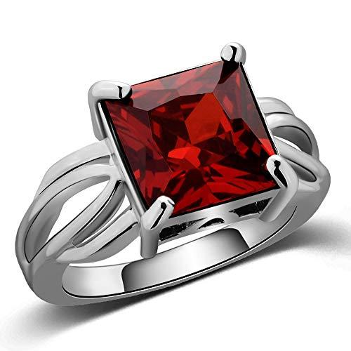 Frauenring Dunkelrotes Quadrat Diamant Edelstein Goldring Mode Bankett Party Frauenschmuck Ringe für