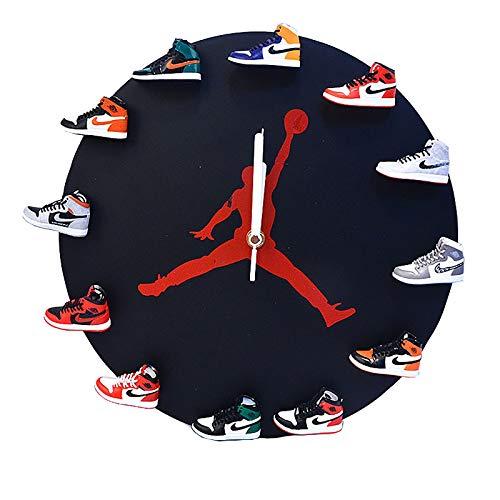 YFBB Reloj de Pared Mini Zapatillas 3D, diseño novedoso Reloj de Pared con Zapatillas 3D, diseño novedoso Reloj de Pared con Zapatillas 3D hogar, la Cocina y la salaBlack-A