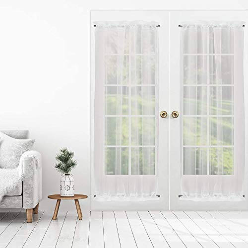 RosieLily Voile French Door Curtains Set of 2 Sheer Door Curtain Patio Door Curtain Lightweight Door Window Curtains with Tieback