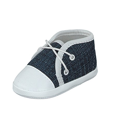 Babyschuhe Taufschuhe Lauflernschuhe Kinderschuhe Krabbelschuhe, Festliche Baby Schuhe, Jeansstoff, Blau, Gr.- 17 EU/Herstellergröße- 10