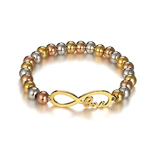 Blowin Womens Unique acero inoxidable Charm infinity pulsera de perlas, dos tono ajustable