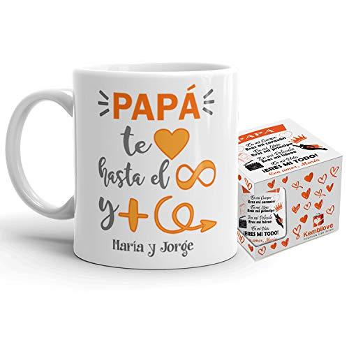 Kembilove Taza de Café Padre Personalizada – Taza de Desayuno Papá Te Quiero hasta el Infinito – Tazas de Café y Té para Papas – Taza de Cerámica Impresa – Regalo Original Taza de 350 ml