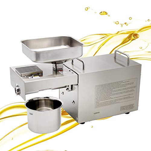 CGOLDENWAL Prensa de Aceite Electrónica 1500W Acero Inoxidable Máquina de Prensa de Aceite丨Prensa Fría & Caliente丨para coco lino cáñamo kiwi lino cacahuetes丨Certificado CE 220V