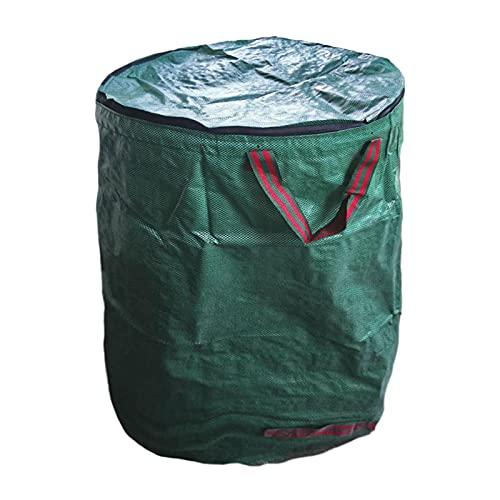 DASNTERED Gartenabfallsäcke, faltbar, groß, mit Griffen, tragbare Rasenabfalltasche mit Deckel (Größe: 300 l)
