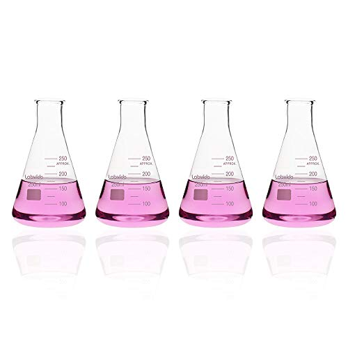 Labvida 4pcs of Narrow Mouth Glass Erlenmeyer Flasks, Vol.250ml, 3.3 Borocilicate with Printed Graduation, LVC003