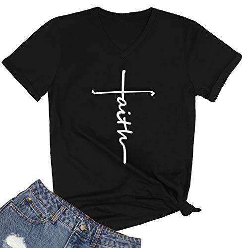 SELECTEES Women Faith Graphic V-Neck Cute Tee Shirts Tops Black Large