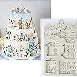 Onsinic Navidad Pan Jengibre Casa Molde Silicona Fondant Molde Pastel Decoración Herramientas Chocolate Gumpaste Sugarcraft Cocina Gadgets