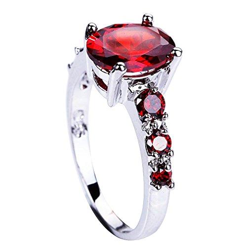 YAZILIND Rojo Brillante circón cúbicos Dedo Anillos de joyería Regalo para Las Mujeres tamaño 27