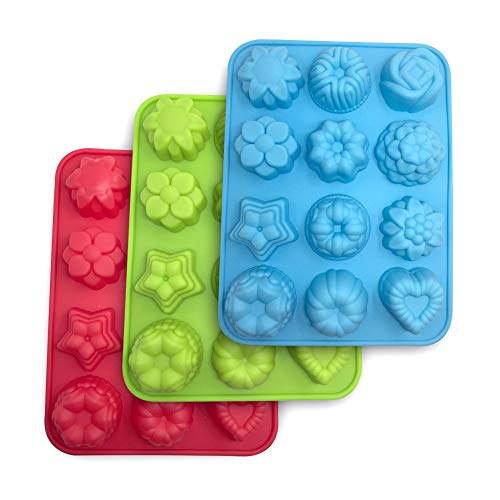 3 Packs Flowers Silicone non-Stick Mold, SourceTon Bake Mold for Cake, Jelly, Pudding, Chocolate, Cupcake, 12-Cavity Muffin Pan, Baking Pans with Flowers and Heart shape. - Blue, Green and Red.