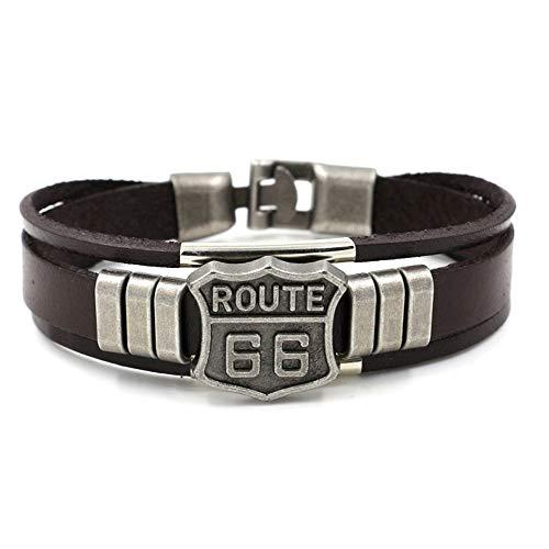 Nobrand Mode Route 66 Armband Männer Casual Fashion Geflochtenleder Armbänder Für Frauen Freiheit...