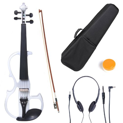 Cecilio L4/4CEVN-L2W Left-Handed Solid Wood Pearl White Electric Violin with...