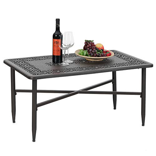 "PHI VILLA Outdoor Patio Cast Aluminum 38.6""x23"" Rectangular Coffee Table - Frosted Surface"