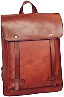 SODIAL Fashion High Quality British Style PU Leather Backpack Women's Vintage Travel Satchel Girl Laptop Rucksack Teenager School Bag Unisex Student Outdoor Shoulder Bags, Brown