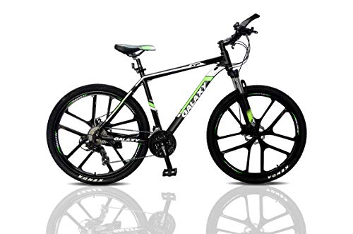 27.5 inch Mountain Bike Galaxy Aluminium Alloy MTB Suspension Mens Bicycle 24 Gears Dual Disc Brake with Hydraulic Lock Out Fork & Hidden Cable Design for Adults Bikes (Black/Green)