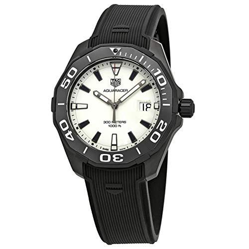 TAG Heuer WAY108A.FT6141 - Reloj de Cuarzo para Hombre, con Correa de Goma Negra y Esfera Blanca