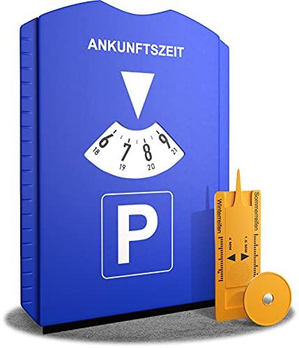 ROBBX® Parkscheibe mit Eiskratzer für Auto und Motorrad - Parkuhr inkl. Reifenprofilmesser und Einkaufswagenchip - Parkscheiben - Parking Disc