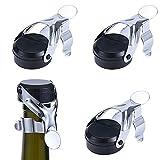 Tappo Vino Spumante 4 pezzi Tappo per Champagne in Acciaio Inox champagne tappo con un built in pompa a pressione dimensioni Utilizzato per sigillare vino spumante champagne(nero)