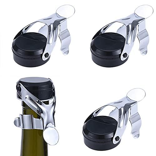 Tapón para Botella Champagne 4 Piezas Tapones de Corcho de Acero Inoxidable Tapón de Vino Espumoso Tapones Sellado al Vacío Se utiliza para sellar vino vino espumoso champán(negro)