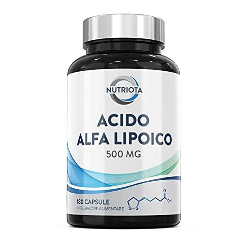 Acido alfa lipoico ALA 500 mg | 180 capsule vegane extra forti | Aiuta a ridurre l'infiammazione, controllare il mantenimento dei normali livelli di zucchero nel sangue e la salute del sistema nervoso