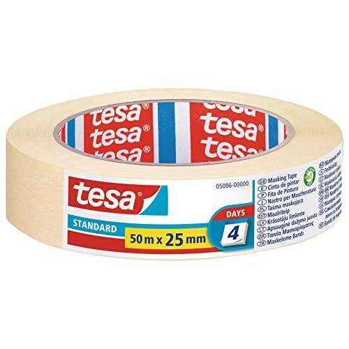 Tesa Nastro per Mascheratura Standard - Nastro in Carta per Mascheratura, Rimozione senza Residui per 2 Giorni, senza Solventi, 50 m x 25 mm