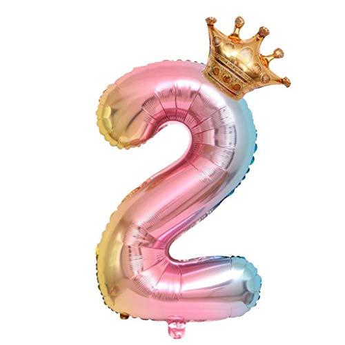 Hahuha Kronenballons, Krone Nummer Folie Luftballons Nummer Ballon Alles Gute zum Geburtstag Party Dekoration 32 Zoll, Wohnkultur Dekoartikel Wohnaccessoires Accessoires