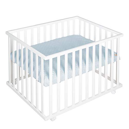 roba Parque infantil'Roba Style', 75 x 100 cm, parque de juegos seguro con forro protector azul claro y ruedas, de madera, color blanco