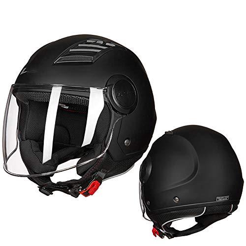YHDQ Motorrad- und Damen-Motorrad-Halbhelme, große Motorradhelme, geeignet für Vier Jahreszeiten, Forward-Flip-Motorradhelme-XXL (60-61 cm)-Black-XXXL