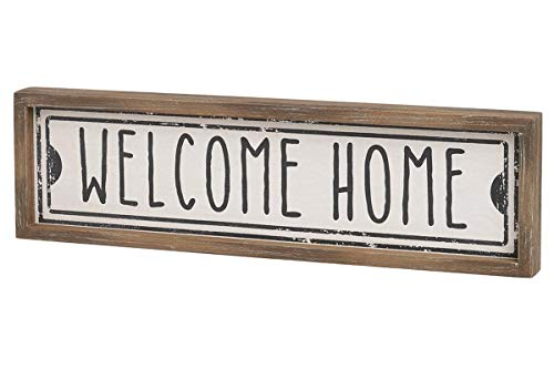 Señal de madera con texto en inglés 'Welcome Home'