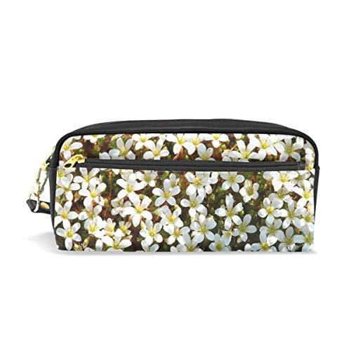 AOOEDM Estuche para lápices Estampado elegante Naturaleza Flores blancas Cama Arte Patrón...